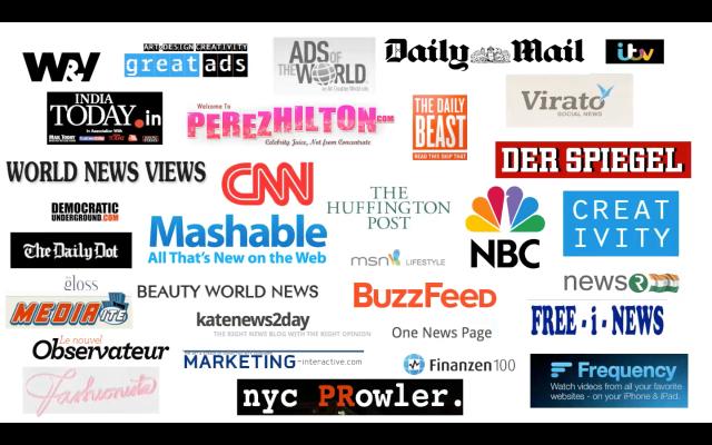 Übersicht über die medien, in denen blush Snowden ad erschienen ist.